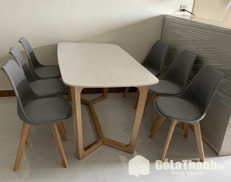 bàn ăn 6 ghế mặt đá ghế lót đệm