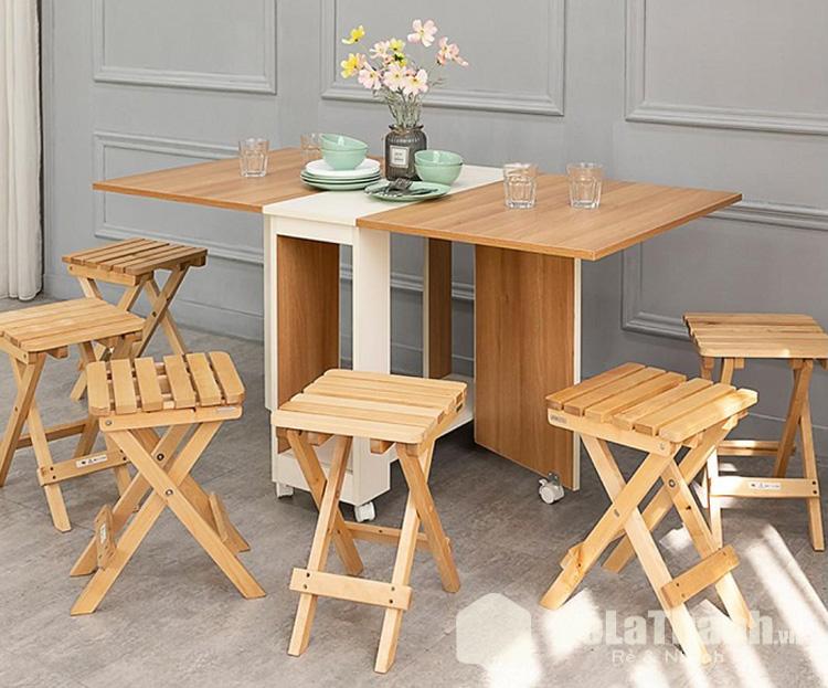 bộ bàn ăn 6 ghế giá rẻ tphcm bằng gỗ gấp gọn