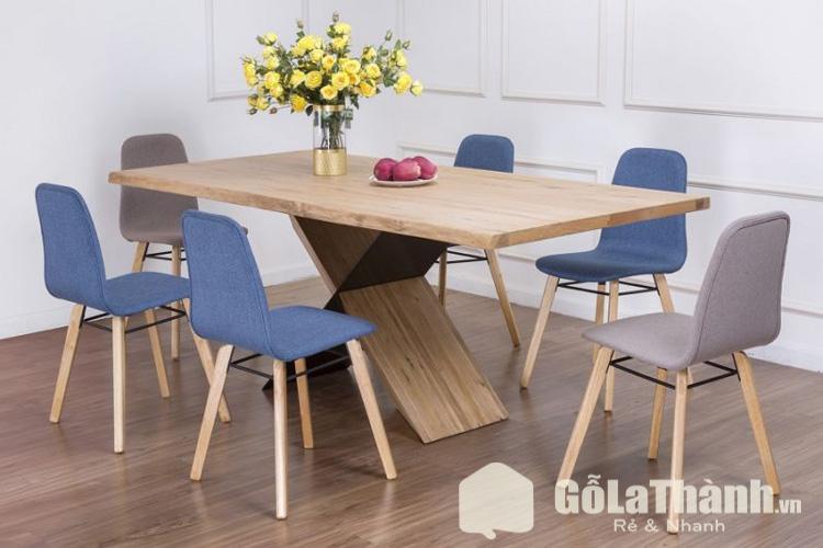 bàn ăn 6 ghế giá rẻ tphcm ghế bọc đệm màu xanh và xám