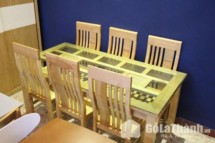 bàn ăn mặt kính hình chữ nhật 6 ghế