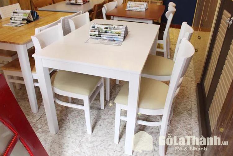 bàn hình chữ nhật 4 ghế màu trắng