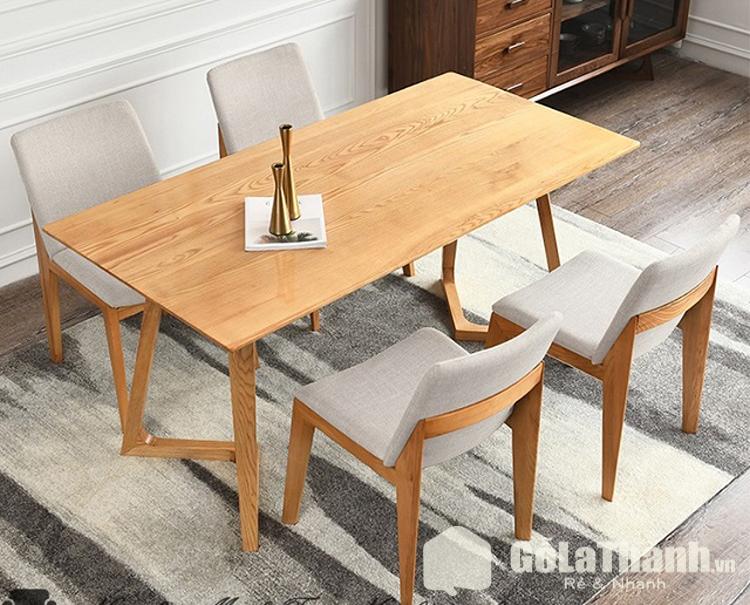 bàn ăn gia đình giá rẻ gỗ ghế đệm màu xám