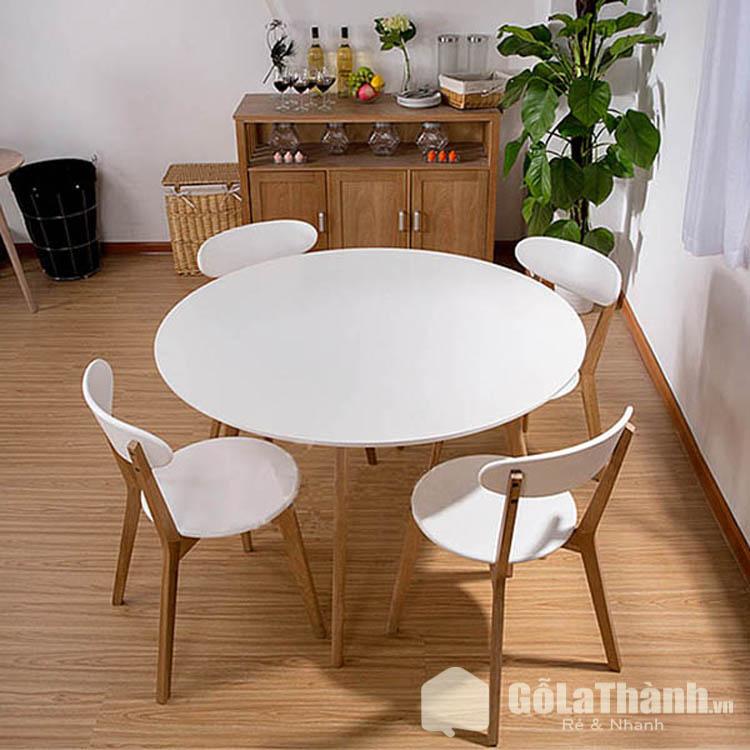 bàn tròn 4 ghế màu trắng