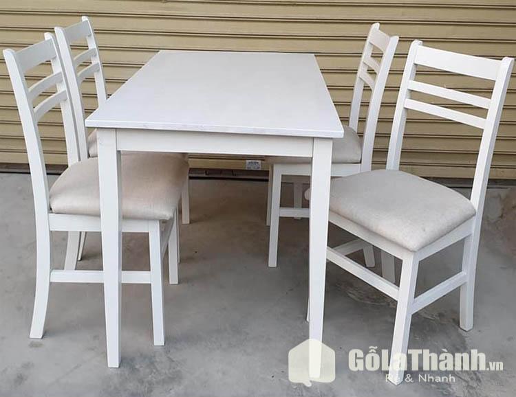 bàn ăn gỗ 4 ghế lót đệm màu trắng