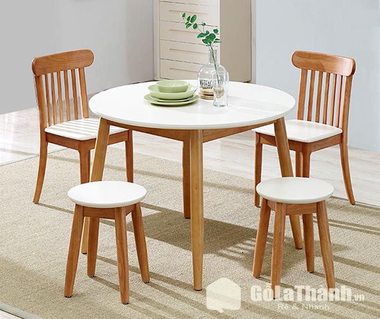 bàn ăn gia đình giá rẻ tròn 4 ghế 2 ghế tựa và 2 ghế tròn