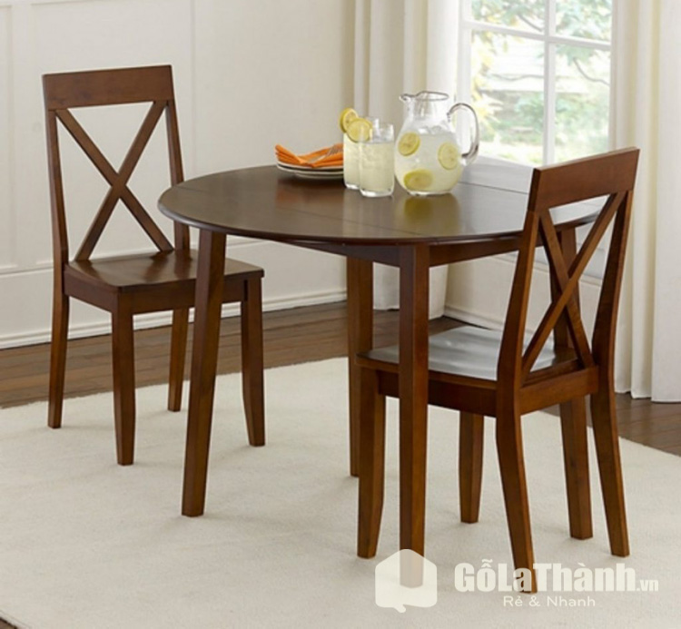 bàn tròn 2 ghế bằng gỗ