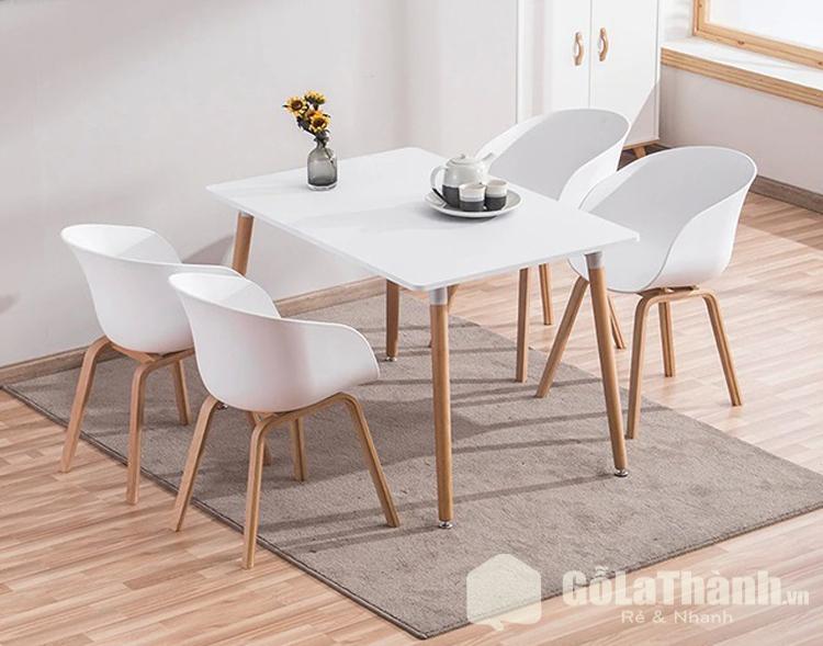bộ bàn ghế ăn hiện đại màu trắng