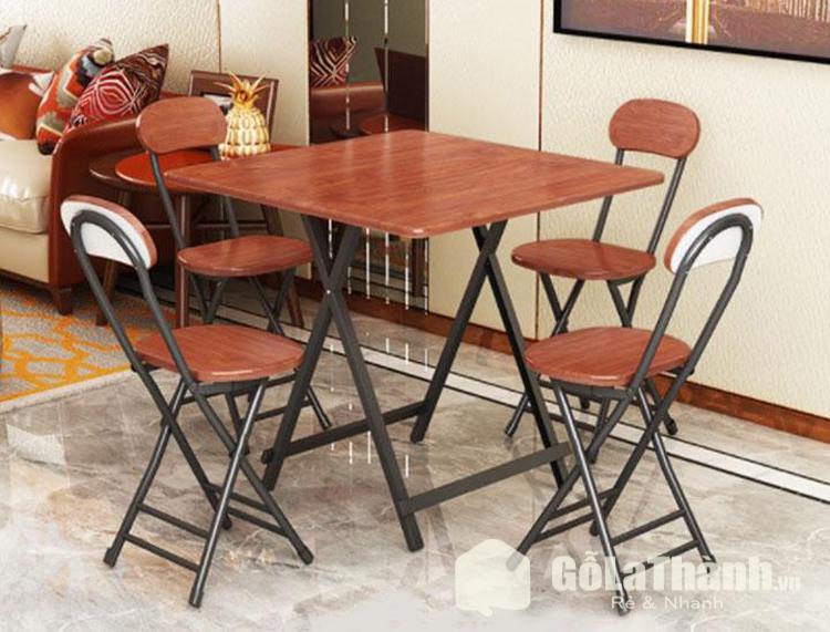 bàn ghế ăn bằng gỗ khung sắt