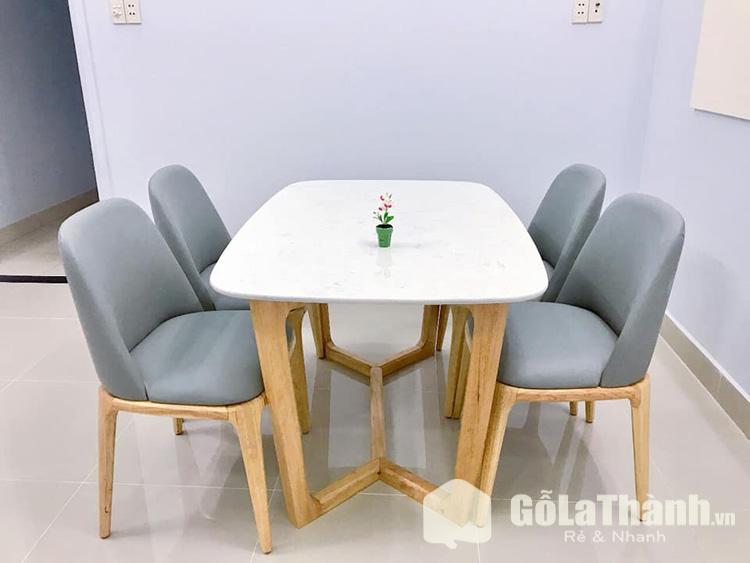 kiểu dáng hiện đại với bàn trắng ghế bọc đệm