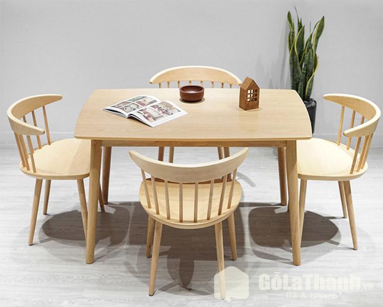 bàn ăn gỗ hình chữ nhật dài 4 ghế