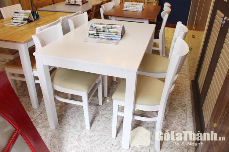 bộ bàn ghế ăn giá rẻ tphcm 4 ghế bọc đệm sơn màu trắng
