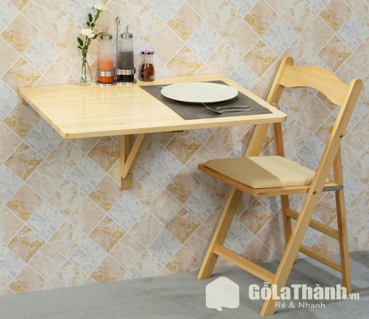 bàn gỗ gắn tường 1 ghế