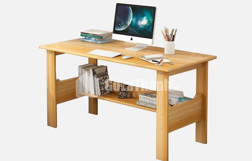 bàn làm việc thiết kế đơn giản gỗ công nghiệp màu vàng nhạt giả vân gỗ
