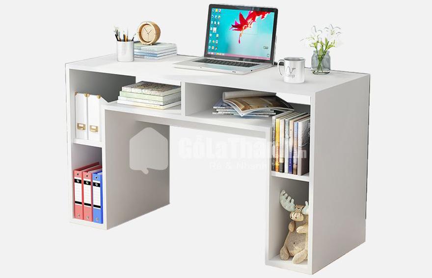 bàn làm việc gỗ công nghiệp sơn trắng hình chữ u, thiết kế nhiều ngăn