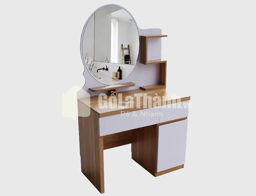 bàn trang điểm gỗ nâu phối trắng