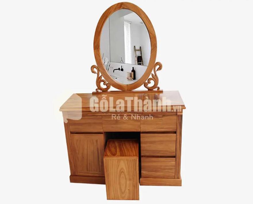 bàn phấn thiết kế gương bầu dục, nhiều ngăn kéo gỗ tự nhiên