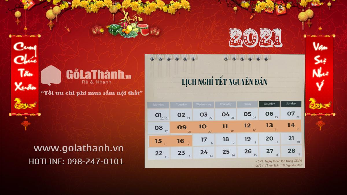 Golathanh.vn thông báo Lịch nghỉ Tết Nguyên đán 2021