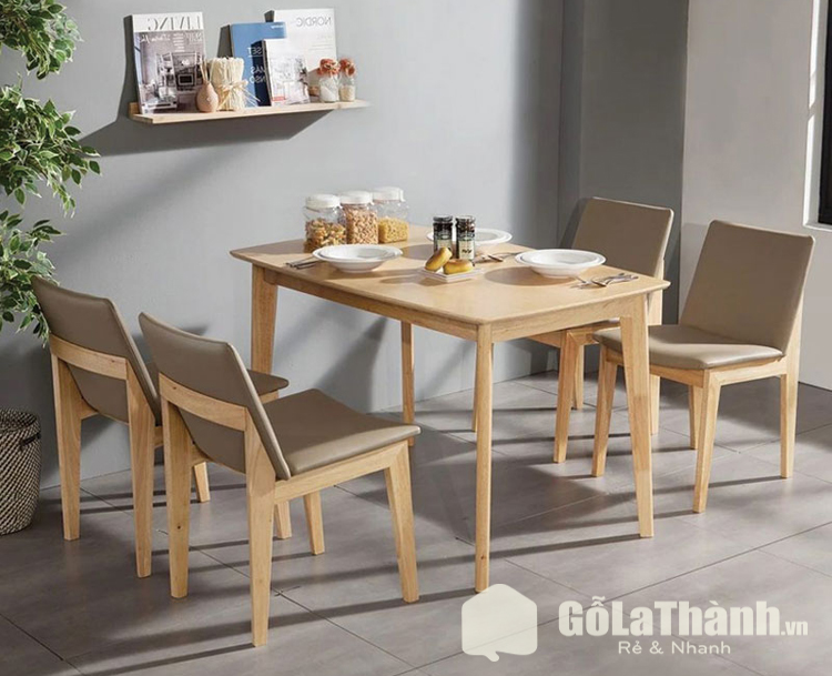 bàn và 4 ghế gỗ tự nhiên bọc da