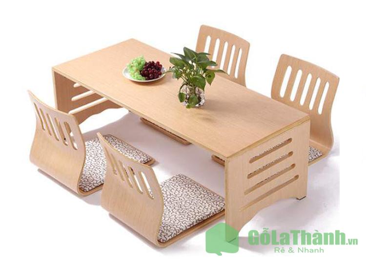 bàn ăn ngồi bệt kiểu Nhật có ghế tựa