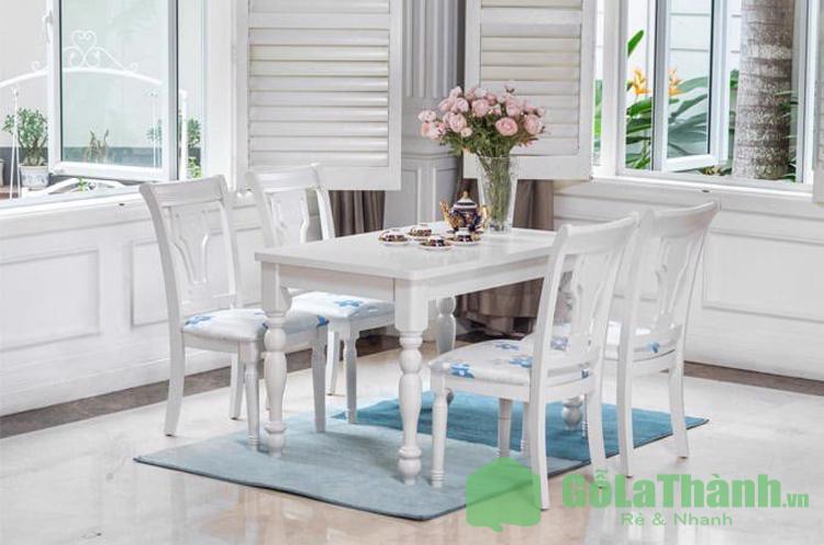 bàn ăn 4 ghế màu trắng