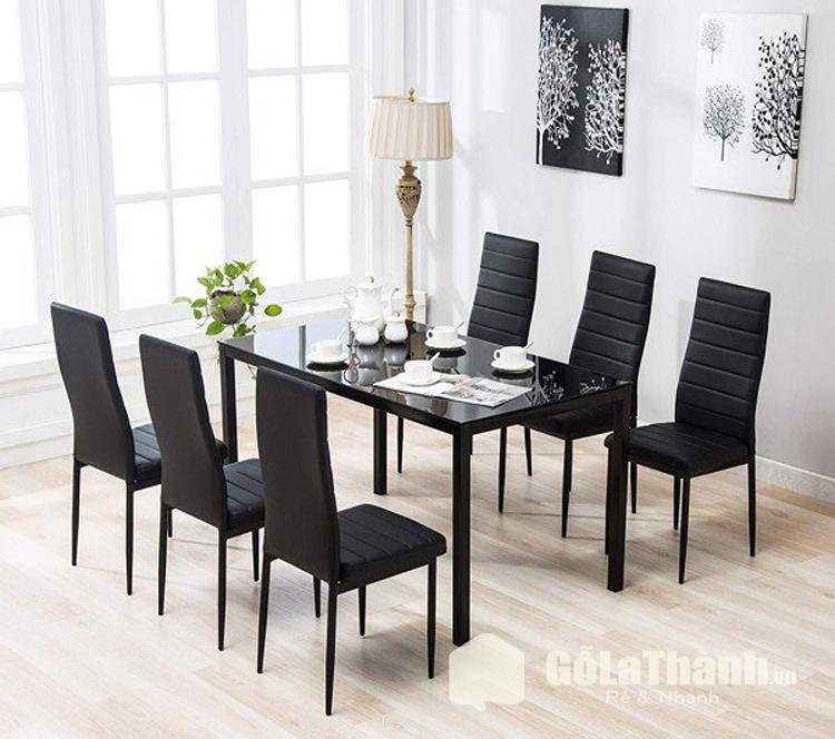bàn ăn ghế màu đen có đệm
