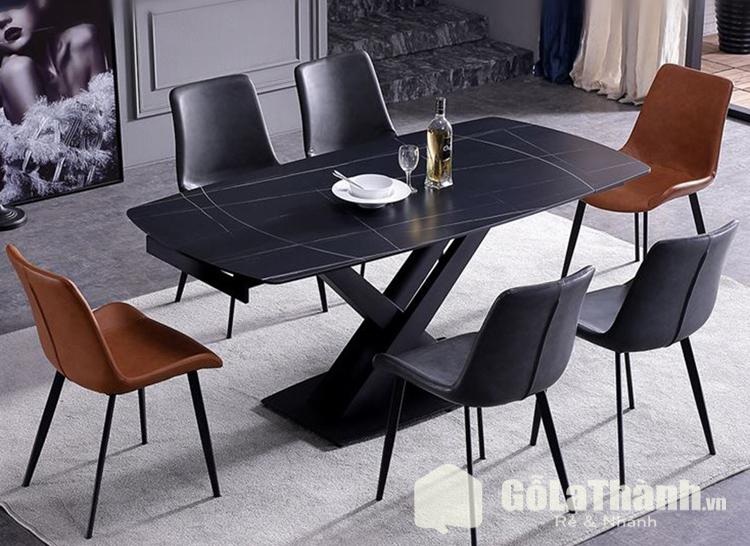 bàn mặt đá ghế nhựa phối nâu và đen