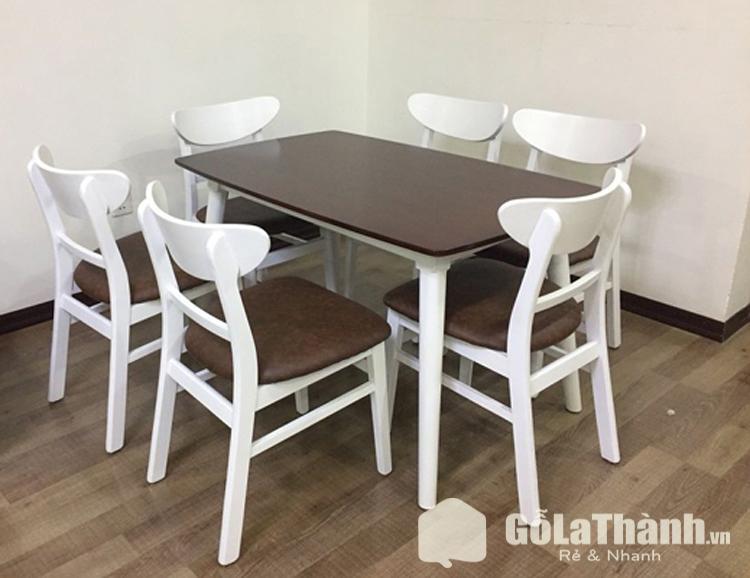 bộ bàn ăn 6 ghế giá rẻ nâu phối trắng