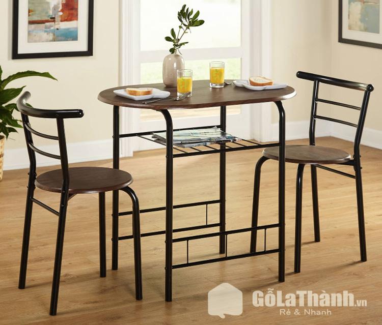 bộ bàn ăn giá rẻ khung sắt phối gỗ