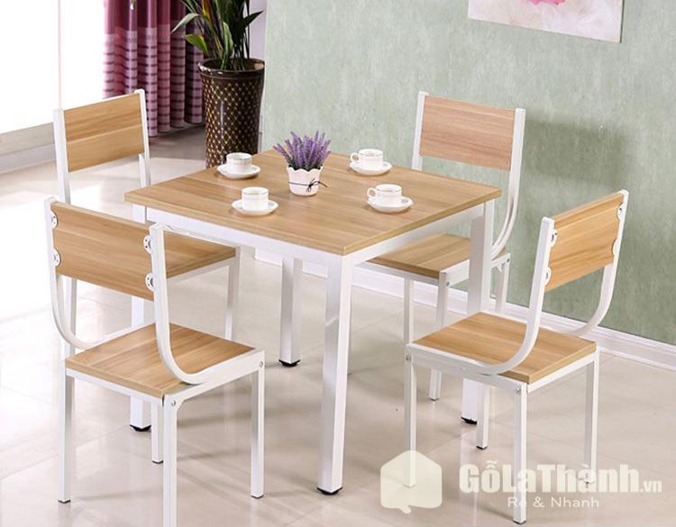 bộ bàn ghế ăn khung sắt gỗ công nghiệp