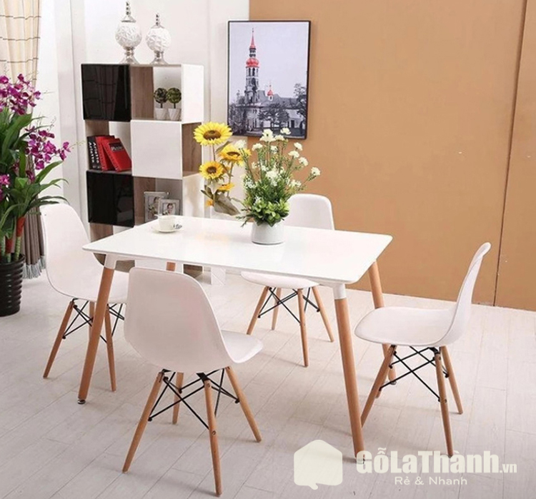 bàn ăn hình chữ nhật 4 ghế màu trắng