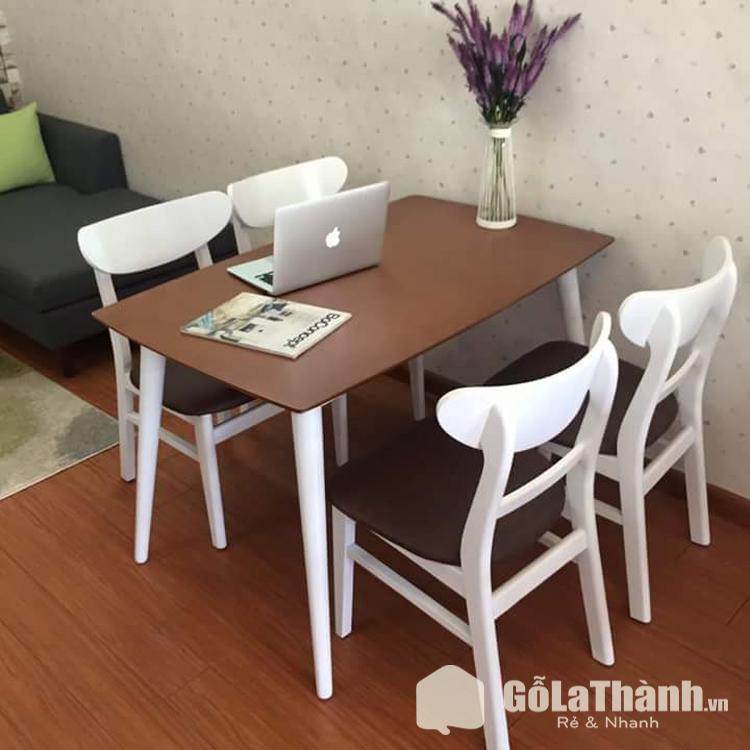 bàn ăn nâu ghế trắng