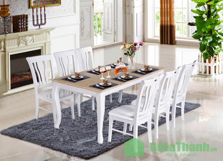 bộ bàn ăn 6 ghế màu trắng