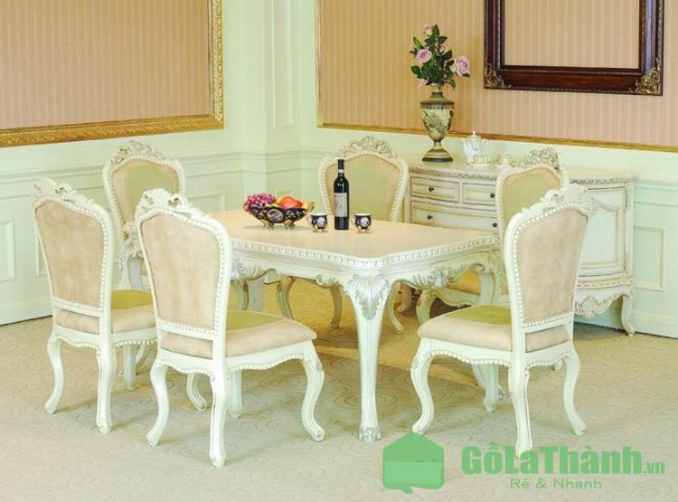 bộ bàn ghế ăn giá rẻ 6 ghế cổ điển