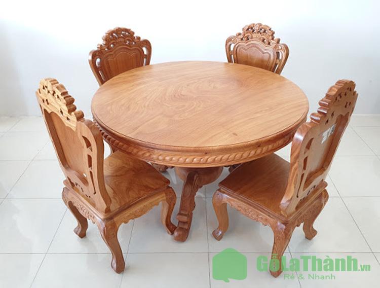 bàn tròn gỗ tự nhiên trạm trổ hoa văn