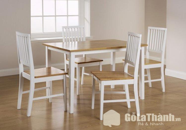 bộ bàn ăn gỗ phối trắng và nâu