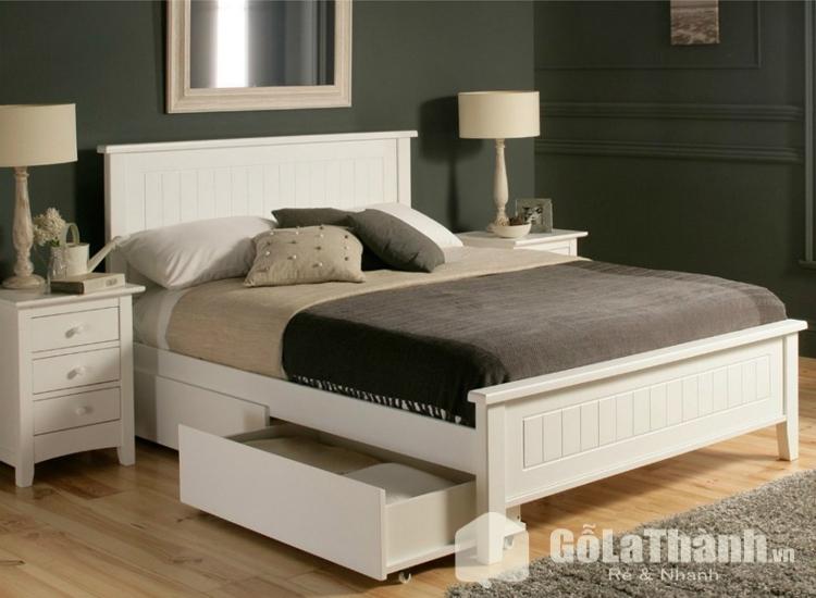 giường có tủ dưới gầm màu trắng