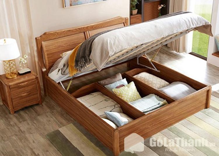 giường ngủ với ngăn chứa đồ bên dưới đệm