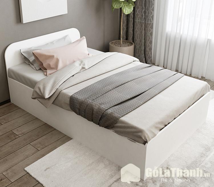giường ngủ thấp sàn gỗ công nghiệp màu trắng