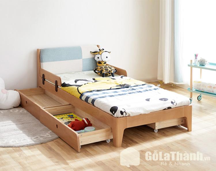 giường ngủ 1 người dành cho trẻ em có thiết kế ngăn kéo gắn bánh xe