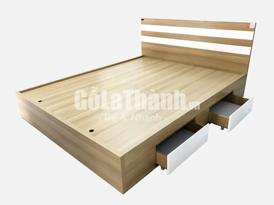 giường ngủ gỗ công nghiệp nâu nhạt phối màu trắng có ngăn kéo ở thành giường