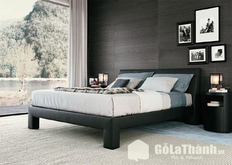 giường ngủ màu đen 4 chân cao