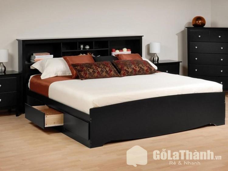 giường ngủ đen có ngăn kéo dưới gầm
