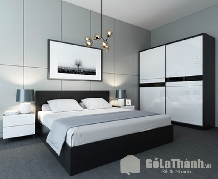 giường ngủ màu đen kết hợp tông trắng