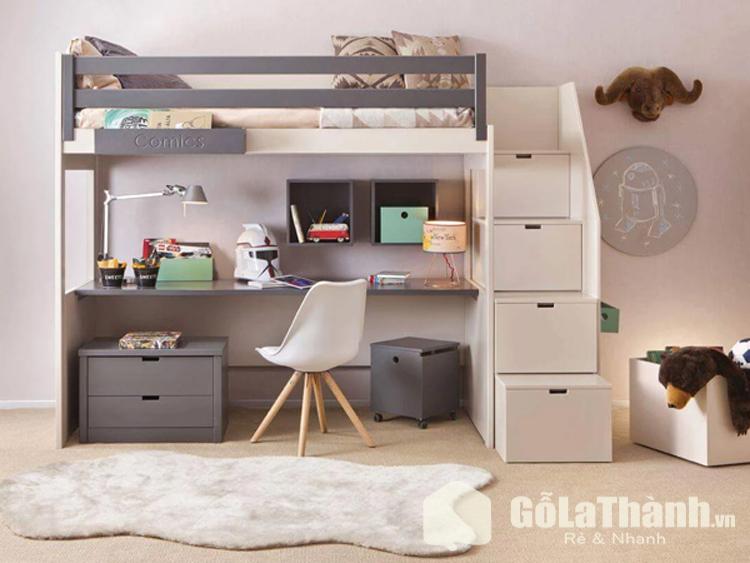 thiết kế giường tầng tích hợp bàn làm việc