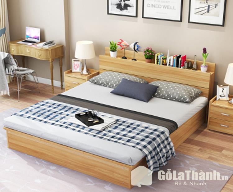 giường sàn thấp bằng gỗ