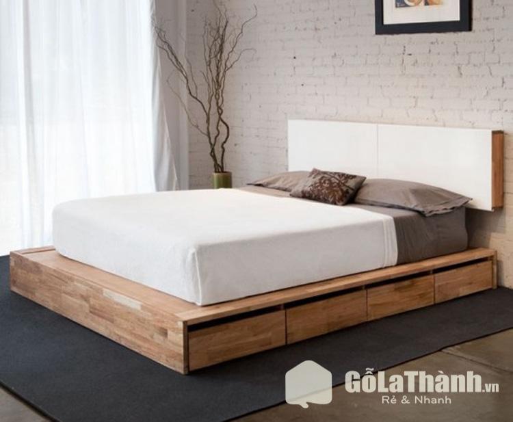giường ngủ thấp sàn gỗ tự nhiên