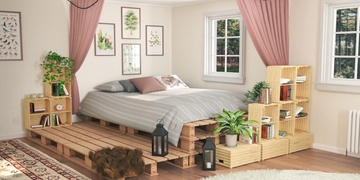 Giường ngủ thấp sàn cho phòng ngủ phong cách vintage