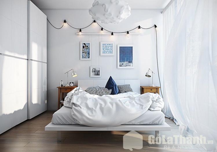 giường ngủ màu trắng dạng phản