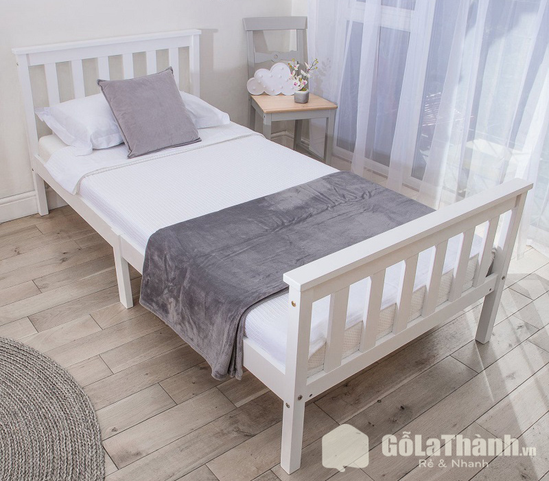 giường ngủ màu trắng dành cho một người