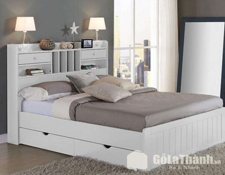 giường ngủ trắng đẹp gầm thấp